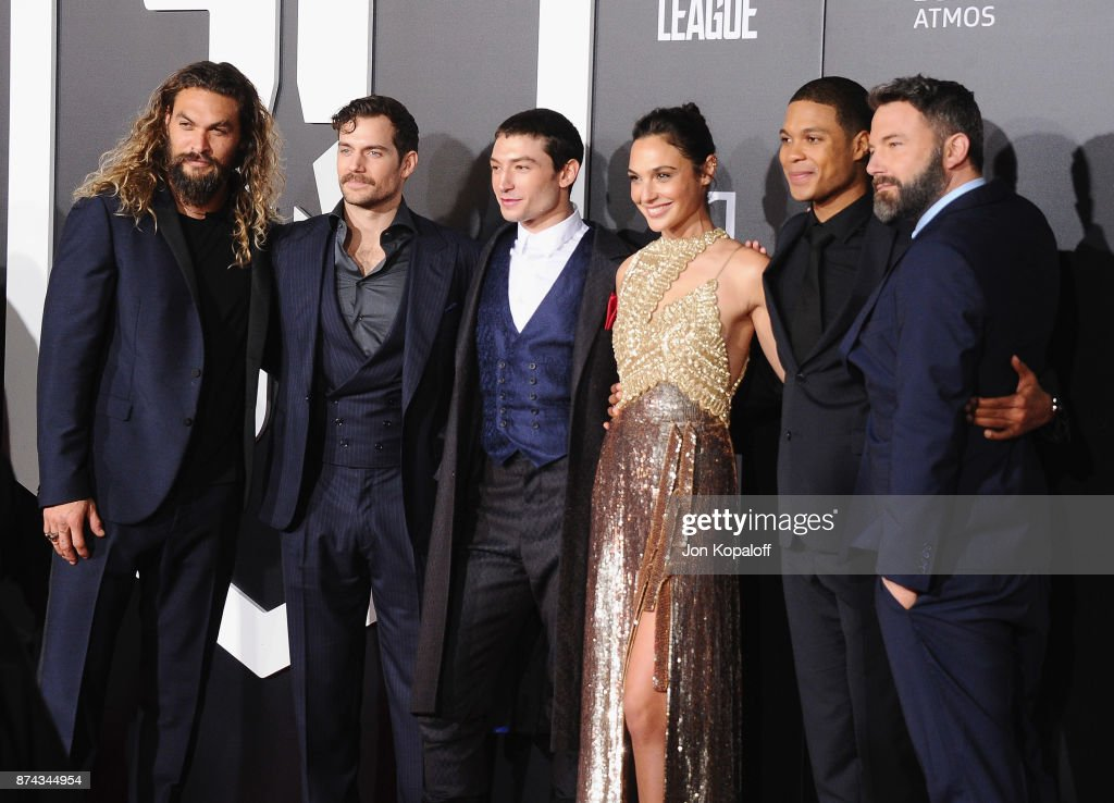 Actors Jason Momoa, Henry Cavill, Ezra Miller, Gal Gadot, Ray Fisher, and Ben Affleck attend the Los Angeles Premiere of Warner Bros. Pictures' 'Justice League' at Dolby Theatre on November 13, 2017 in Hollywood, California.