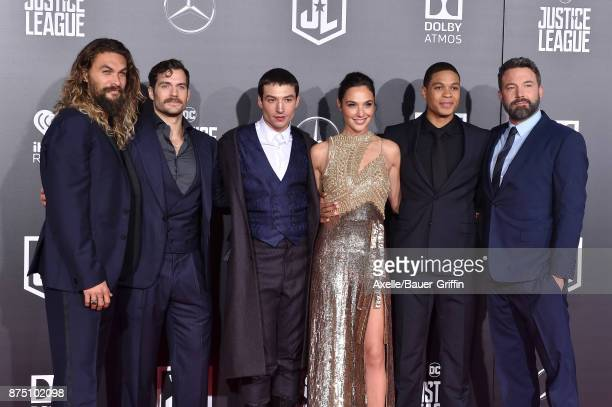 Actors Jason Momoa Henry Cavill Ezra Miller Gal Gadot Ray Fisher and Ben Affleck arrive at the premiere of Warner Bros Pictures' 'Justice League' at...