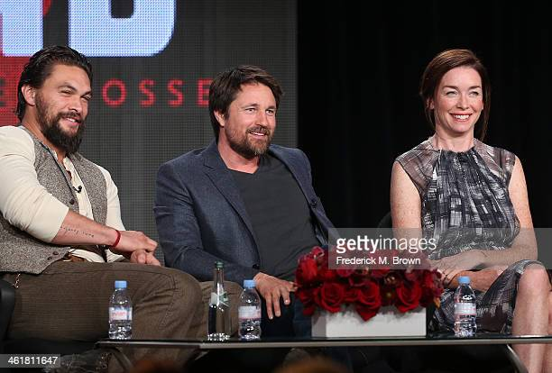 Actors Jason Momoa, Martin Henderson and Julianne Nicholson speak onstage during the 'Sundance Channel - The Red Road' panel discussion at the...