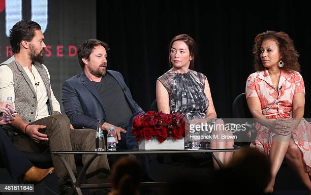 Actors Jason Momoa, Martin Henderson, Julianne Nicholson and Tamara Tunie speak onstage during the 'Sundance Channel - The Red Road' panel discussion...