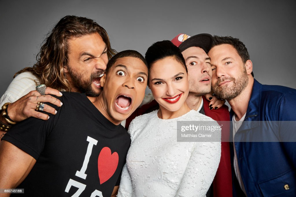 Actors Jason Momoa, Ray Fisher, Gal Gadot, Ezra Miller, and Ben Affleck from Justice League are photographed for Entertainment Weekly Magazine on July 22, 2017 at Comic Con in San Diego, California.