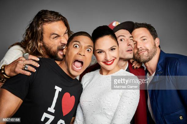 Actors Jason Momoa, Ray Fisher, Gal Gadot, Ezra Miller, and Ben Affleck from Justice League are photographed for Entertainment Weekly Magazine on...