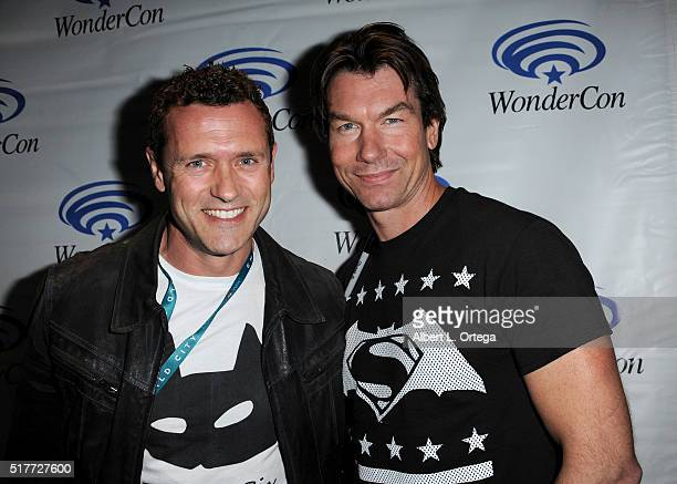 Actors Jason O'Mara and Jerry O'Connell as Batman and Superman in the animated Justice League Vs Teen Titans on Day 2 of WonderCon 2016 held at the...