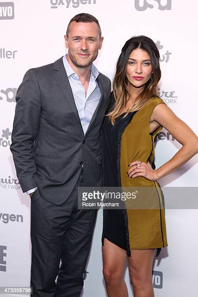 Actors Jason O'Mara and Jessica Szohr attend the 2015 NBCUniversal Cable Entertainment Upfront at The Jacob K Javits Convention Center on May 14 2015...