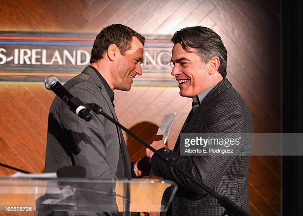 Actors Jason O'Mara and Peter Gallagher onstage at the 8th Annual Oscar Wilde Honoring The Irish In Film PreAcademy Awards Event at Bad Robot on...