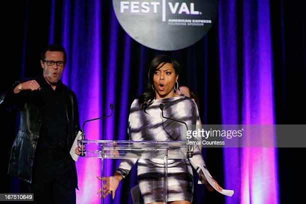 Actors Jason O'Mara and Taraji P Henson speak the TFF Awards Night during the 2013 Tribeca Film Festival on April 25 2013 in New York City