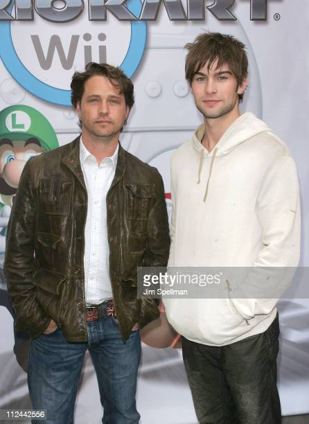 Actors Jason Priestley and Chace Crawford attend the Mario Kart Wii Launch Party at Nintendo World on April 26 2008 in New York City