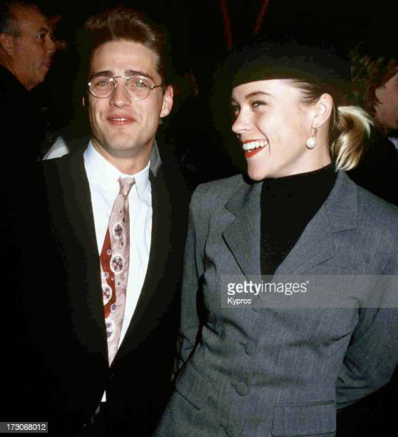 Actors Jason Priestley and his girlfriend actress Christine Elise at the premiere of 'Dracula' Mann's Chinese Theatre Hollywood 10th November 1992