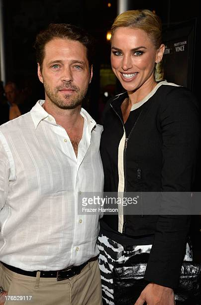 Actors Jason Priestley and Naomi Lowde Priestley arrive at the Premiere Of Dark Tourist at ArcLight Hollywood on August 14 2013 in Hollywood...