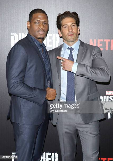 Actors Jason R Moore and Jon Bernthal attend the 'Marvel's The Punisher' New York premiere at AMC Loews 34th Street 14 theater on November 6 2017 in...