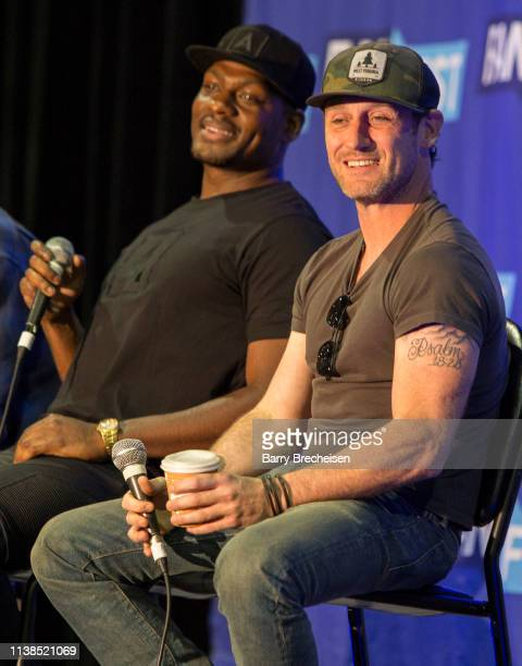 Actors Jason R Moore and Josh Stewart during the Walker Stalker Fan Fest at Donald E Stephens Convention Center on April 20 2019 in Chicago Illinois