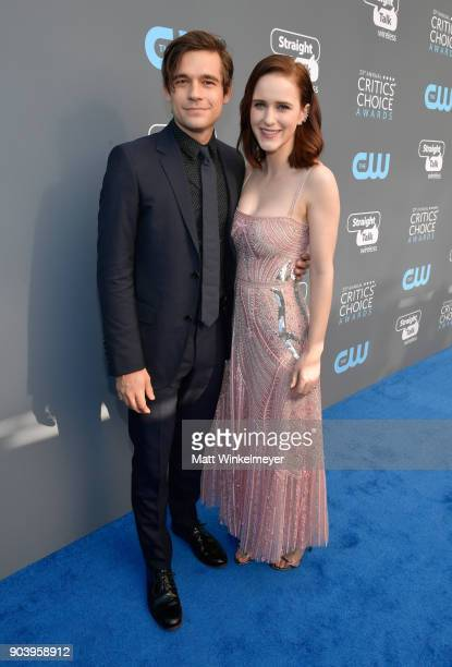 Actors Jason Ralph and Rachel Brosnahan attend The 23rd Annual Critics' Choice Awards at Barker Hangar on January 11 2018 in Santa Monica California