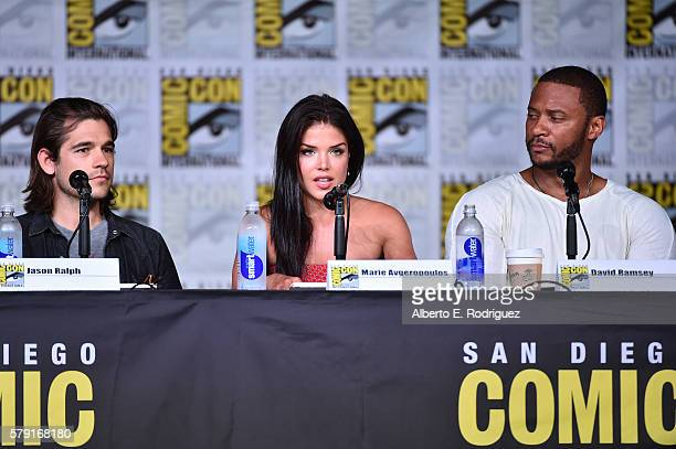 Actors Jason Ralph Marie Avgeropoulos and David Ramsey attend TV Guide Magazine's Fan Favorites during Comic Con 2016 at San Diego Convention Center...