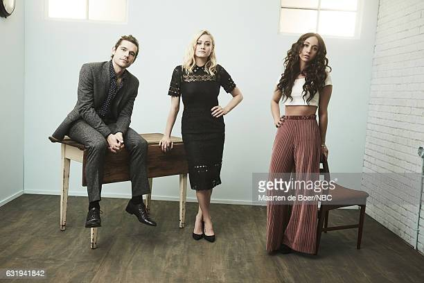 Actors Jason Ralph Olivia Taylor Dudley and Stella Maeve of 'The Magicians' pose for a portrait in the NBCUniversal Press Tour portrait studio at The...