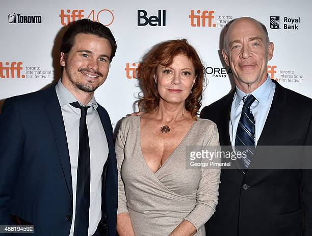 Actors Jason Ritter actress/executive producer Susan Sarandon and JK Simmons attend 'The Meddler' premiere during the 2015 Toronto International Film...