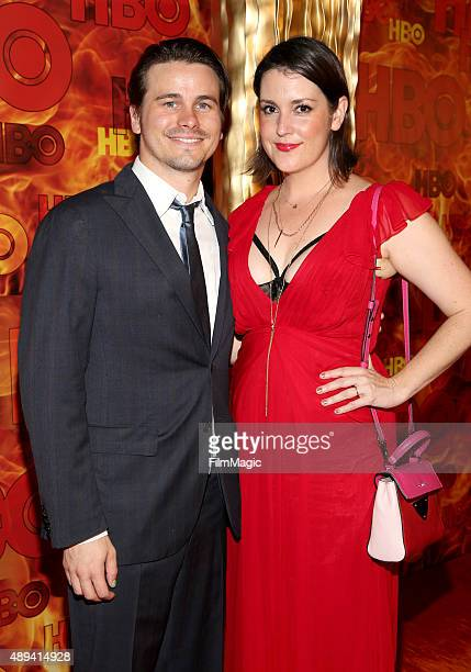 Actors Jason Ritter and Melanie Lynskey attend HBO's Official 2015 Emmy After Party at The Plaza at the Pacific Design Center on September 20 2015 in...
