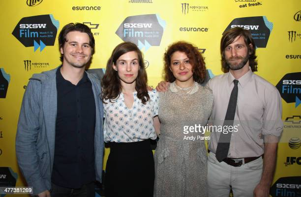 Actors Jason Ritter Sophia Takal Alia Shawkat and actor/filmmaker Lawrence Michael Levine attend the 'Wild Canaries' Photo Op and QA during the 2014...