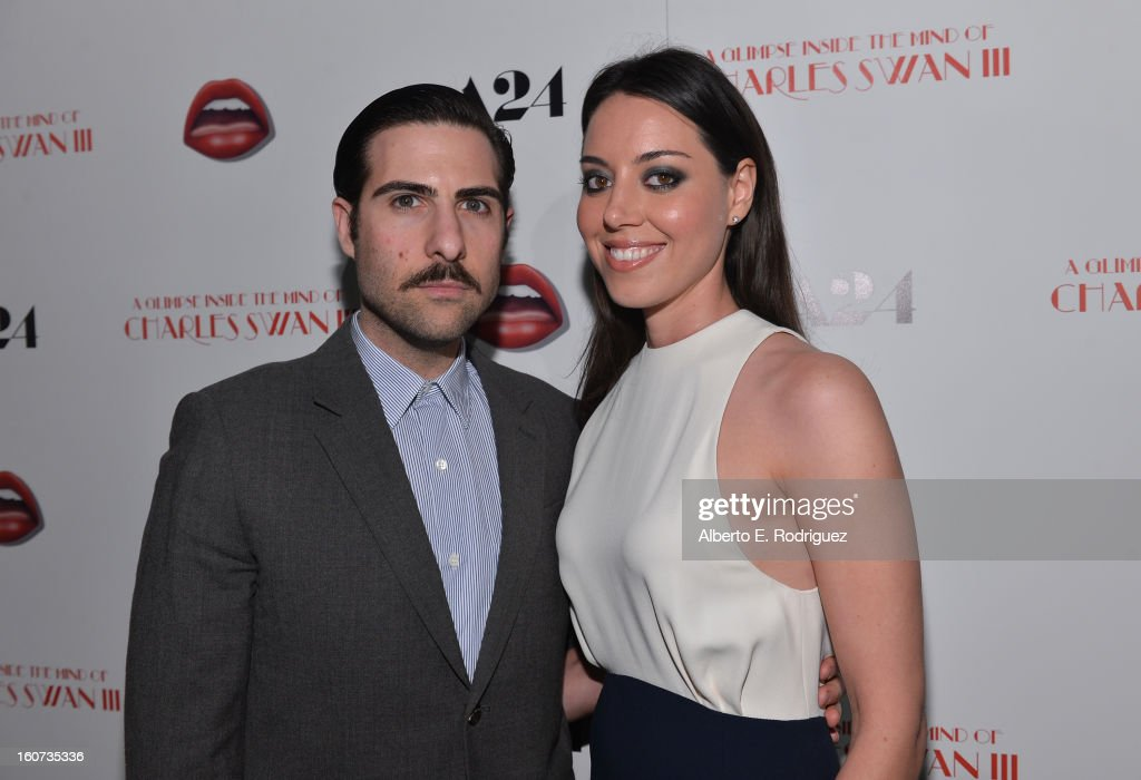 Actors Jason Schwartzman and Aubrey Plaza attend the Los Angeles premiere of A24's 'A Glimpse Inside The Mind Of Charles Swan III' at ArcLight Hollywood on February 4, 2013 in Hollywood, California.