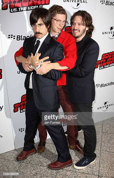 Actors Jason Schwartzman and Michael Cera and director Edgar Wright attend the European premiere of 'Scott Pilgrim vs The World' at Empire Leicester...