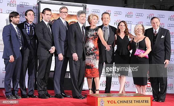 Actors Jason Schwartzman BJ Novak and Colin Farrell director John Lee Hancock actress Emma Thompson actor Tom Hanks writer Kelly Marcel producer...