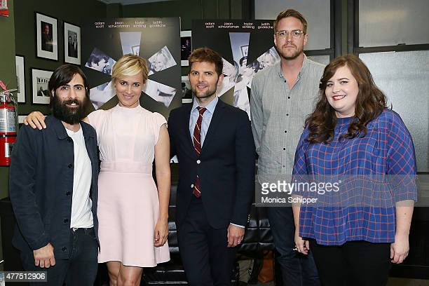 Actors Jason Schwartzman Judith Godreche and Adam Scott director Patrick Brice and actress and comedian Aidy Bryant attend 'The Overnight' New York...