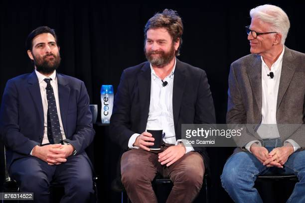 Actors Jason Schwartzman Zach Galifianakis and Ted Danson speak onstage during the 'Bored to Death Reunion' panel part of Vulture Festival LA...