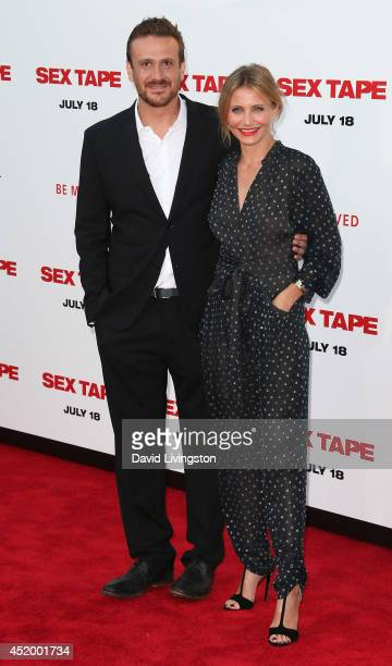 """Actors Jason Segel and Cameron Diaz attend the premiere of Columbia Pictures' """"Sex Tape"""" at the Regency Village Theatre on July 10, 2014 in Westwood,..."""