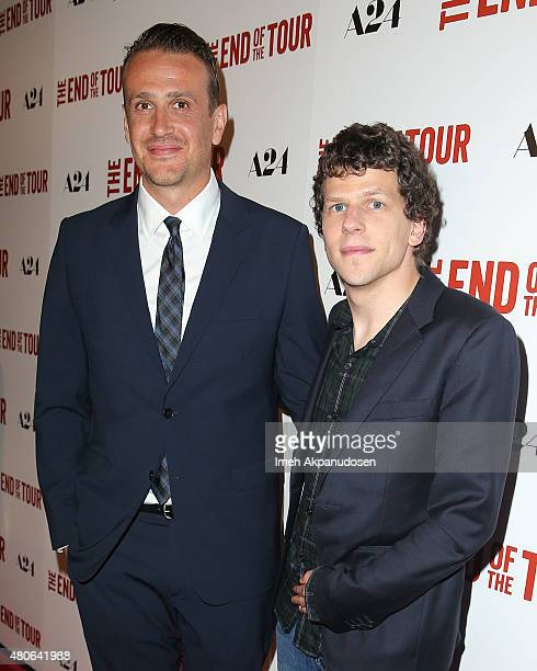 Actors Jason Segel and Jesse Eisenberg attend the premiere of A24's 'The End Of The Tour' at Writers Guild Theater on July 13 2015 in Beverly Hills...