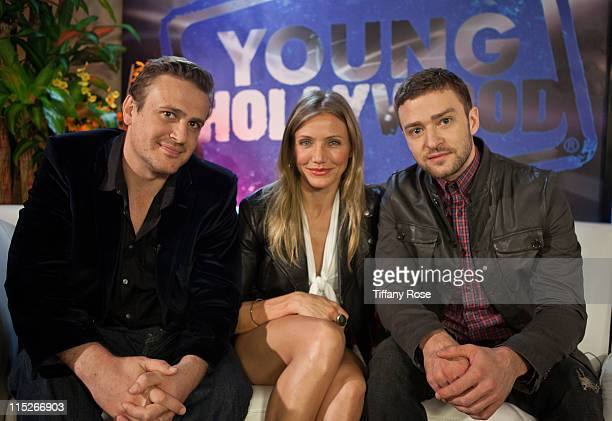 Actors Jason Segel Cameron Diaz and Justin Timberlake visit YoungHollywoodcom to promote Bad Teacher at the Young Hollywood Studio on June 5 2011 in...