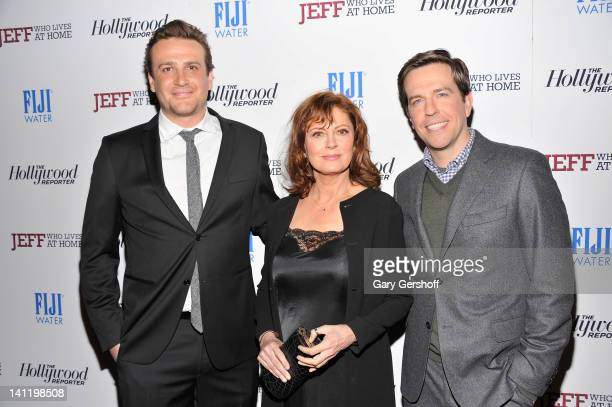 Actors Jason Segel Susan Sarandon and Ed Helms attend a screening of Jeff Who Lives at Home at the Sunshine Landmark on March 12 2012 in New York City
