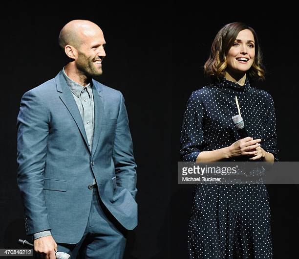 Actors Jason Statham and Rose Byrne speak onstage during 20th Century Fox Invites You to a Special Presentation Highlighting Its Future Release...
