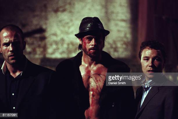 Actors Jason Statham Brad Pitt and Stephen Graham are photographed on location during the filming of Guy Ritchie's 2nd film 'Snatch' on September 1...