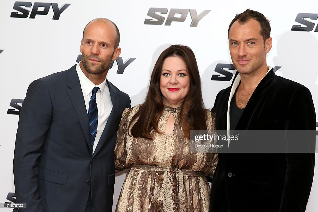 Actors Jason Statham, Melissa McCarthy and Jude Law attend the UK Premiere of 'Spy' at Odeon Leicester Square on May 27, 2015 in London, Jude Law, England.