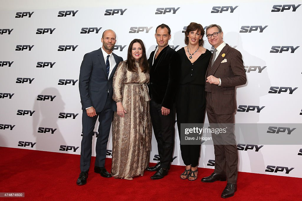 Actors Jason Statham, Melissa McCarthy, Jude Law, Miranda Hart and director Paul Feig attend the UK Premiere of 'Spy' at Odeon Leicester Square on May 27, 2015 in London, Jude Law, England.