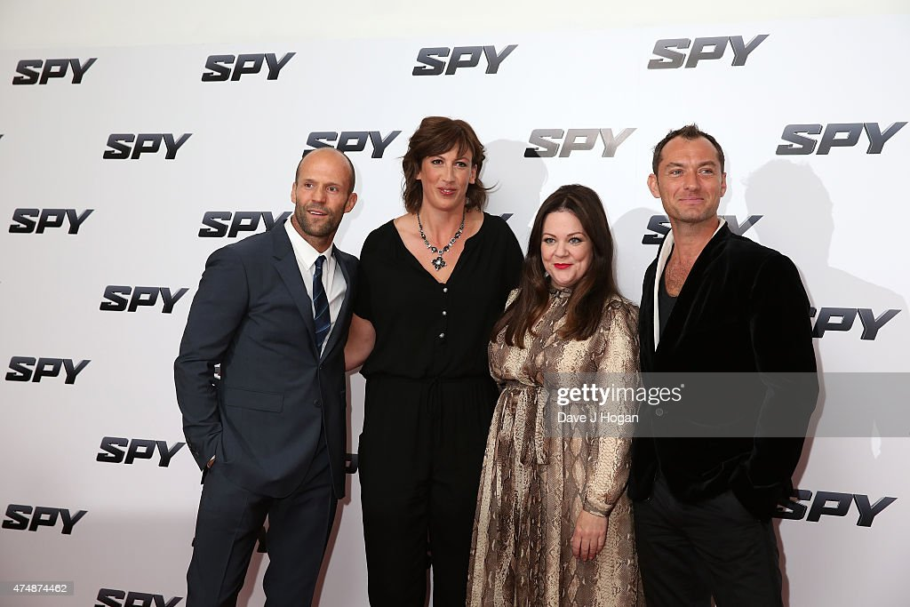 Actors Jason Statham, Miranda Hart, Melissa McCarthy and Jude Law attend the UK Premiere of 'Spy' at Odeon Leicester Square on May 27, 2015 in London, Jude Law, England.