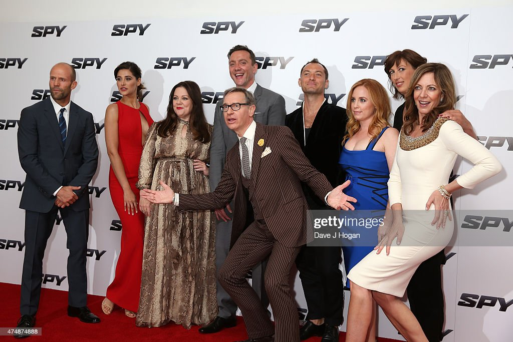 Actors Jason Statham, Nargis Fakhri, Melissa McCarthy, Peter Serafinowicz, director Paul Feig, actors Jude Law, Jessica Chaffin, Miranda Hart and Allison Janney attend the UK Premiere of 'Spy' at Odeon Leicester Square on May 27, 2015 in London, Jude Law, England.