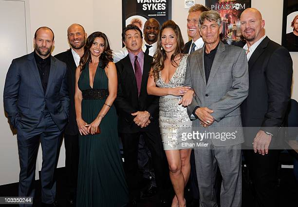 Actors Jason Statham Randy Couture Charisma Carpenter Sylvester Stallone Terry Crews Giselle Itie Dolph Lundgren Eric Roberts and Steve Austin appear...