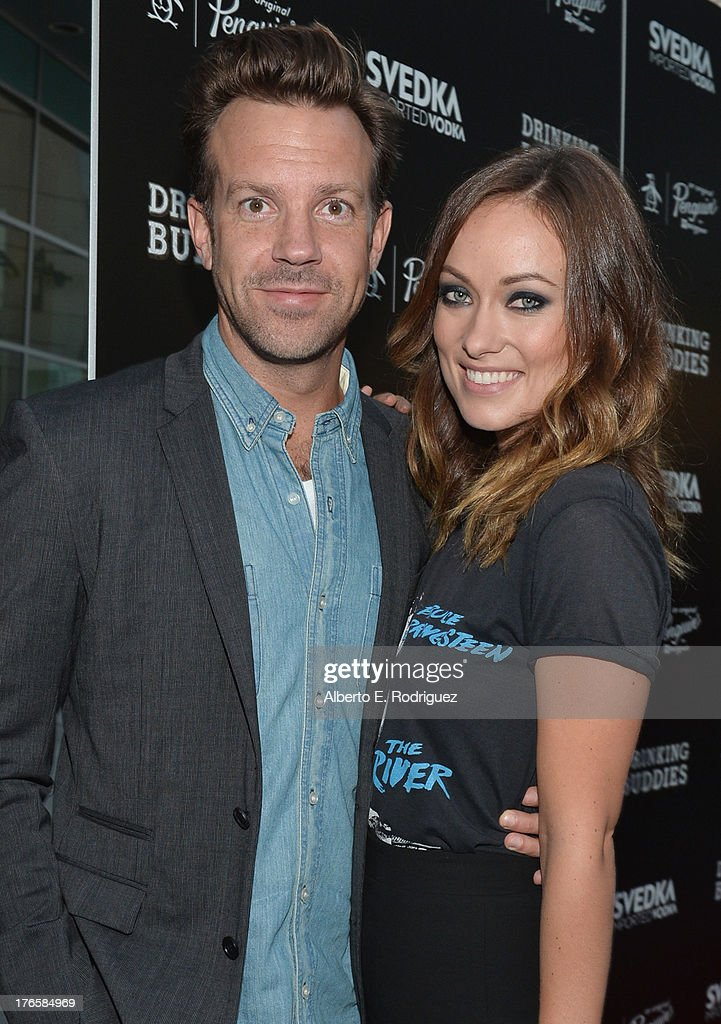 Actors Jason Sudeikis and Olivia Wilde arrive for the screening of Magnolia Pictures' 'Drinking Buddies' at ArcLight Cinemas on August 15, 2013 in Hollywood, California.