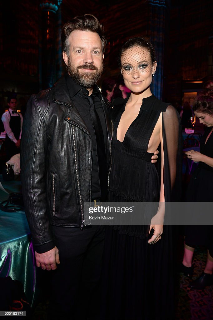 Actors Jason Sudeikis (L) and Olivia Wilde attend the after party of the New York premiere of 'Vinyl' at Ziegfeld Theatre on January 15, 2016 in New York City.