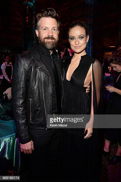 Actors Jason Sudeikis and Olivia Wilde attend the after party of the New York premiere of 'Vinyl' at Ziegfeld Theatre on January 15 2016 in New York...