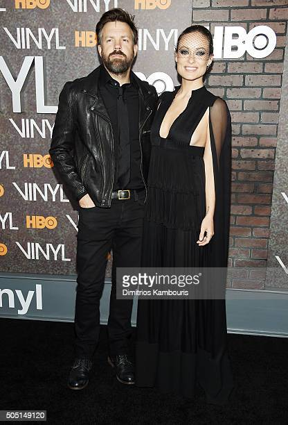 Actors Jason Sudeikis and Olivia Wilde attend the New York premiere of 'Vinyl' at Ziegfeld Theatre on January 15 2016 in New York City