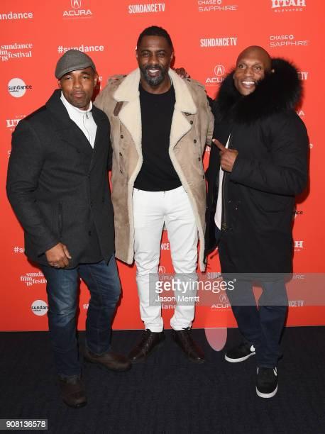 Actors Jason Winston George Idris Elba and Mark Rhino Smith attend Yardi Premiere during the 2018 Sundance Film Festival at The Ray on January 20...