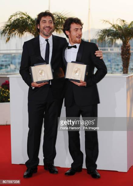 Actors Javier Baardem left and Elio Germano who jointly won Best Performance by an Actor awards for respectively Biutiful and La Nostra Vita at the...