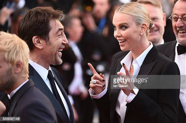 Actors Javier Bardem and actress Charlize Theron attend 'The Last Face' Premiere during the 69th annual Cannes Film Festival at the Palais des...