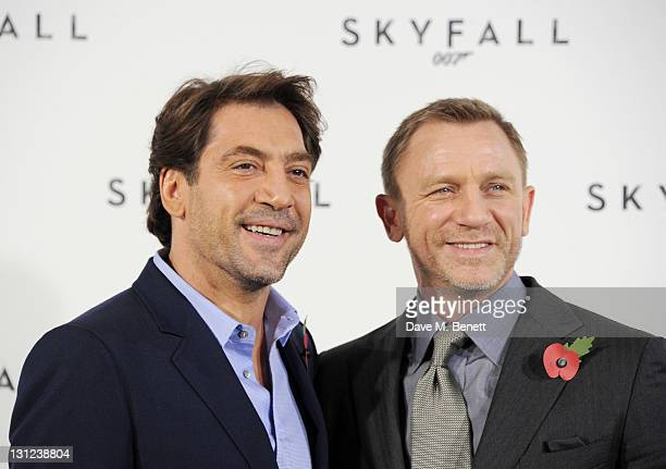 Actors Javier Bardem and Daniel Craig attend a photocall with cast and filmmakers to mark the start of production which is due to commence on the...