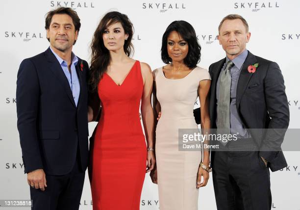 Actors Javier Bardem Berenice Marlohe Naomie Harris and Daniel Craig attend a photocall with cast and filmmakers to mark the start of production...