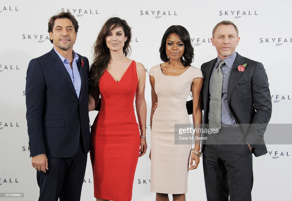 Actors Javier Bardem, Berenice Marlohe, Naomie Harris and Daniel Craig attend a photocall with cast and filmmakers to mark the start of production which is due to commence on the 23rd Bond Film and announce the title of the film as 'Skyfall' at Massimo Restaurant & Oyster Bar on November 3, 2011 in London, United Kingdom.