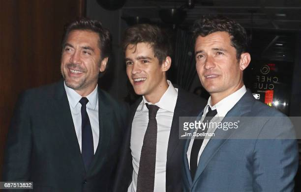 Actors Javier Bardem Brenton Thwaites and Orlando Bloom attend the screening after party for Pirates Of The Caribbean Dead Men Tell No Tales hosted...