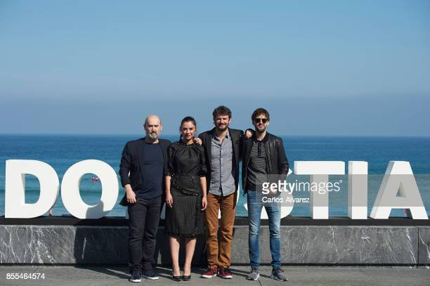 Actors Javier Camara Miren Ibarguren Gorka Otxoaand Julian Lopez attend 'Fe De Etarras' photocall during the 65th San Sebastian International Film...