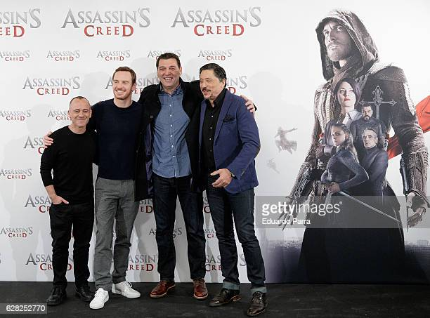 Actors Javier Gutierrez Michael Fassbender Hovik Keuchkerian and Carlos Bardem attend the 'Assassin's Creed' photocall at Villamagna hotel on...